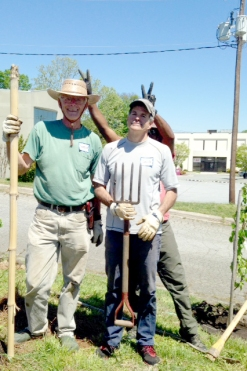 Charlie, David and Bobbe ham it up during the creation of the Fruit Orchard.