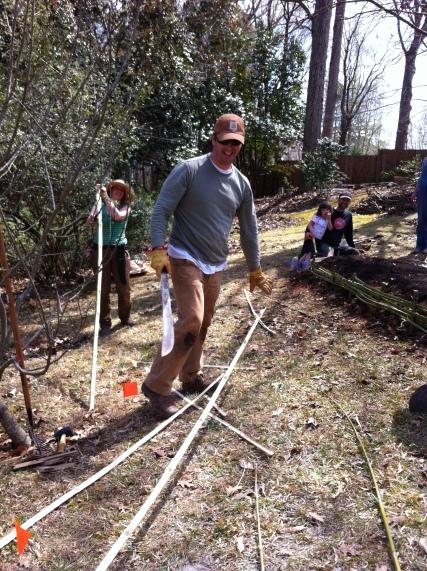 Splitting the bamboo for weaving.