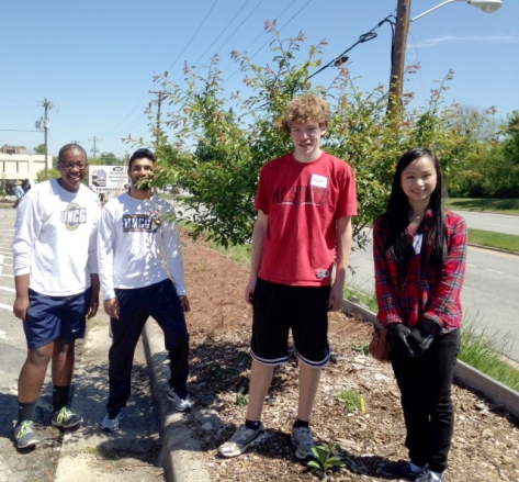 UNCG students planted strawberries, insectary plants and several keyhole beds.